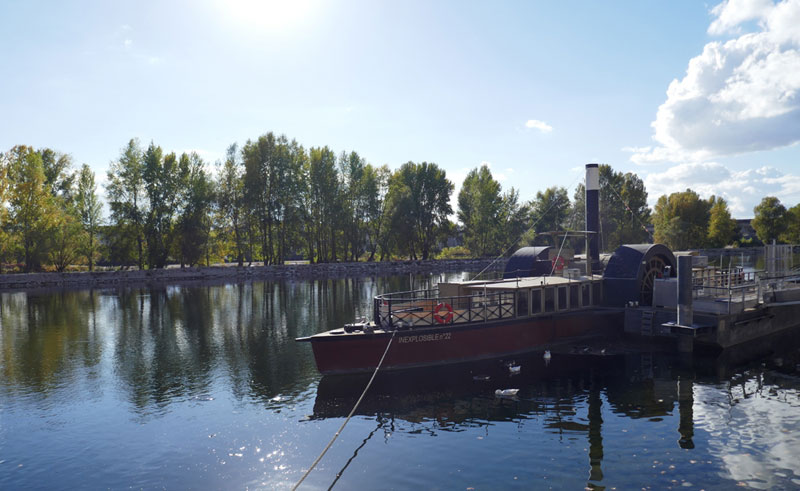 Old paddle steamer on the River Loire at Orleans, Loire Valley
