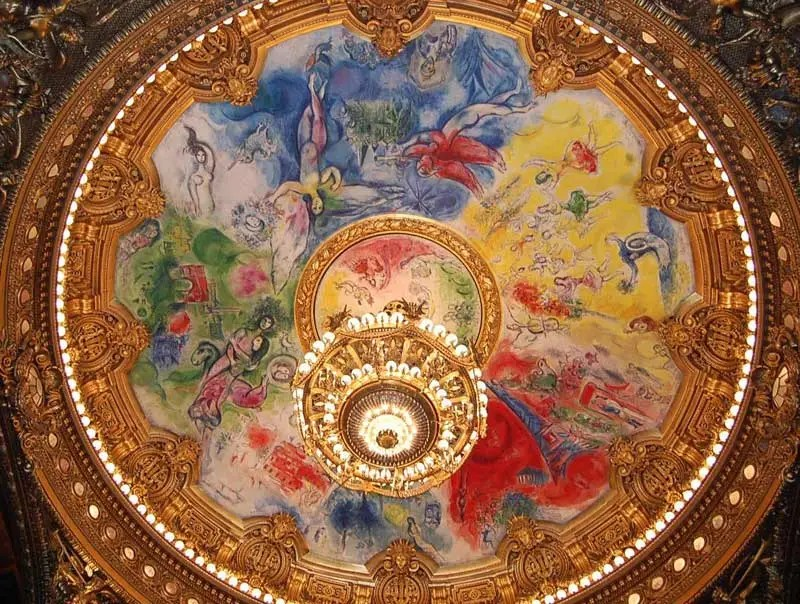 Ceiling rose painted by Marc Chagall at the Paris Opera House - colourful and aesthetic