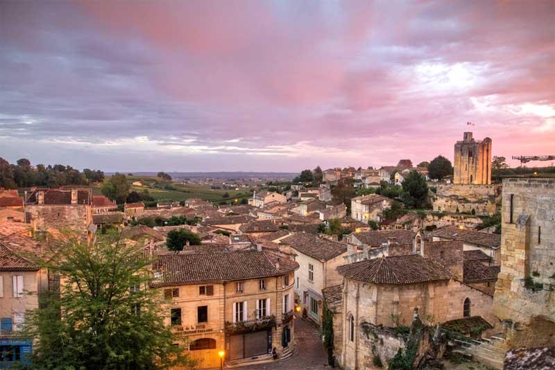 Sun setting over Saint Emilion, Bordeaux