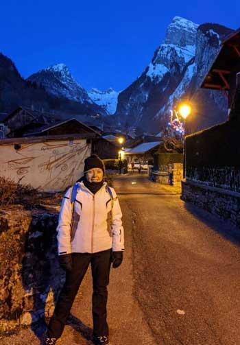 Woman in ski gear in French Alps