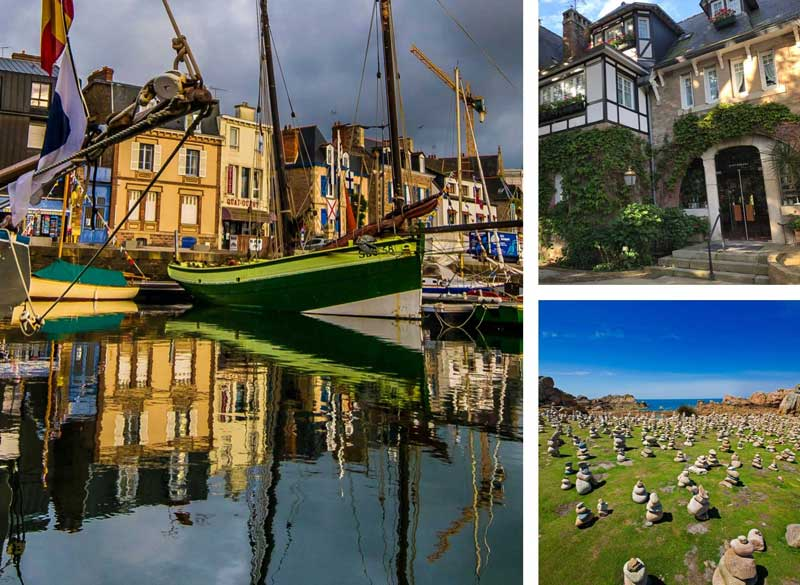 Scenes of Brittany, a harbour, beautiful hotel front and ancient stones in a field