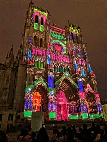 Amiens Cathedral lit up by a sound and light show