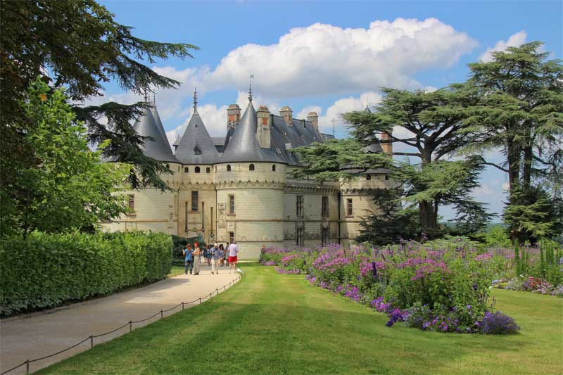 Fairy-tale like castle of Chaumont with pointy towers