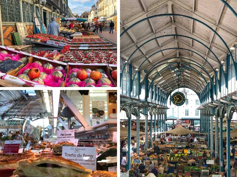 Indoor market, covered wrought iron frame, crammed with stalls selling many foods in Dijon
