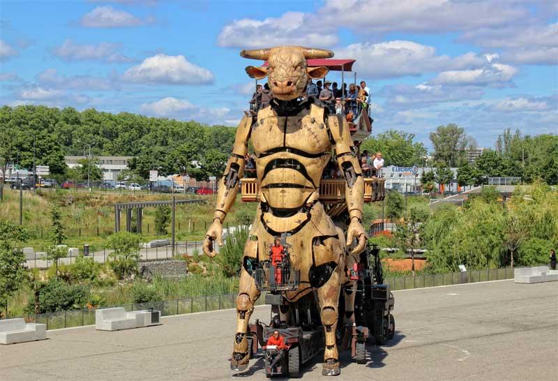 Enormous mechanical Minotaur, half man/half bull in Toulouse