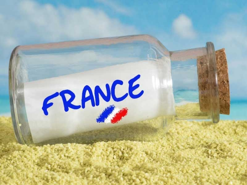Message in a bottle on a French beach