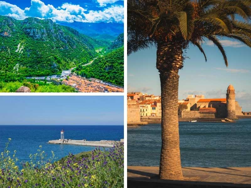 Beaches and mountains in the Pyreneees-Orientales department, France