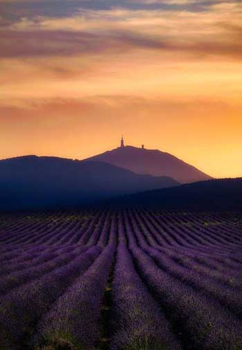 Sun rising over the top of Mont Ventoux, Provence