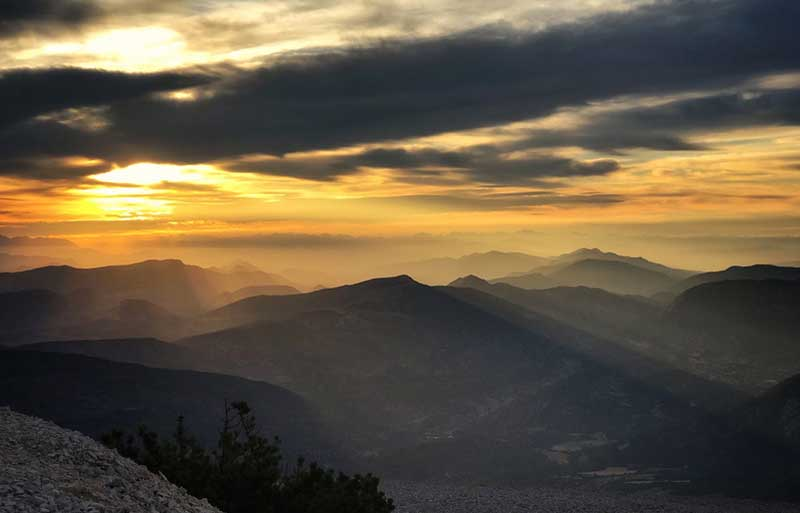 Sunrise at the misty mountain top of Mont Ventoux