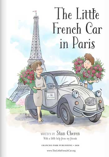 Book jacket of The Little French Car in Paris by Stan Cheren showing Eiffel Tower and a 2CV