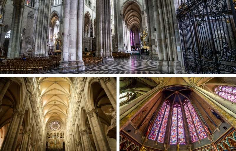 Inside Amiens Cathedral, soft light through ancient stained glass windows