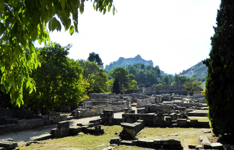 Roman ruins of Glanum in Provcence, remains of walls strewn over the landscape