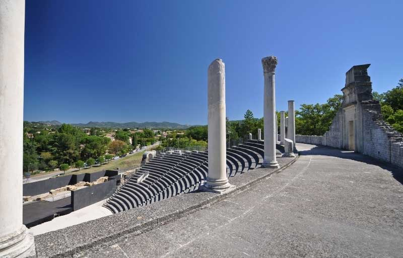 view over the vast and beautifully preserved Roman Theatre of Vaison-la-Romaine
