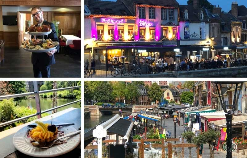 Restaurants alongside the canals of Amiens