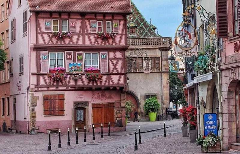 Pretty pink half-timbered house in Colmar