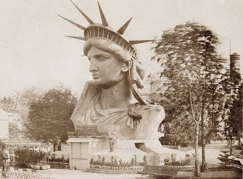 Head of the Statue of Liberty on display in a park in Paris in the 19th century