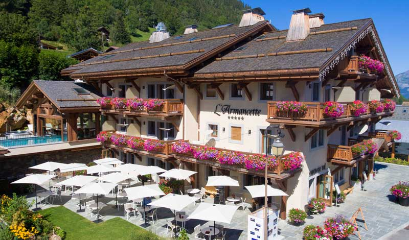 Hotel l'Armancette, flower decked windows and majestic mountain views