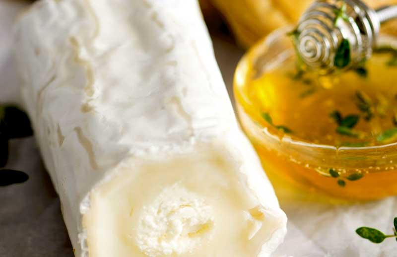 Goats cheese in a cylinder shape and a bowl of honey