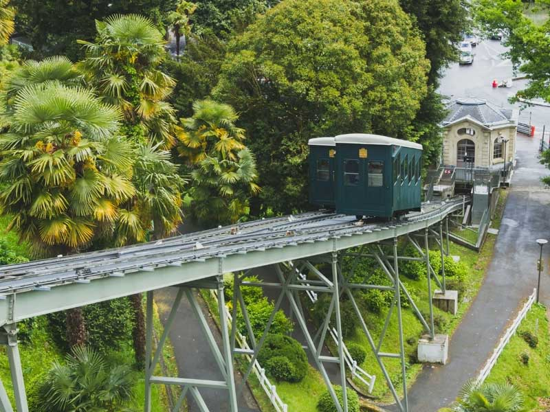 Funicular train at the bottom of a steep line