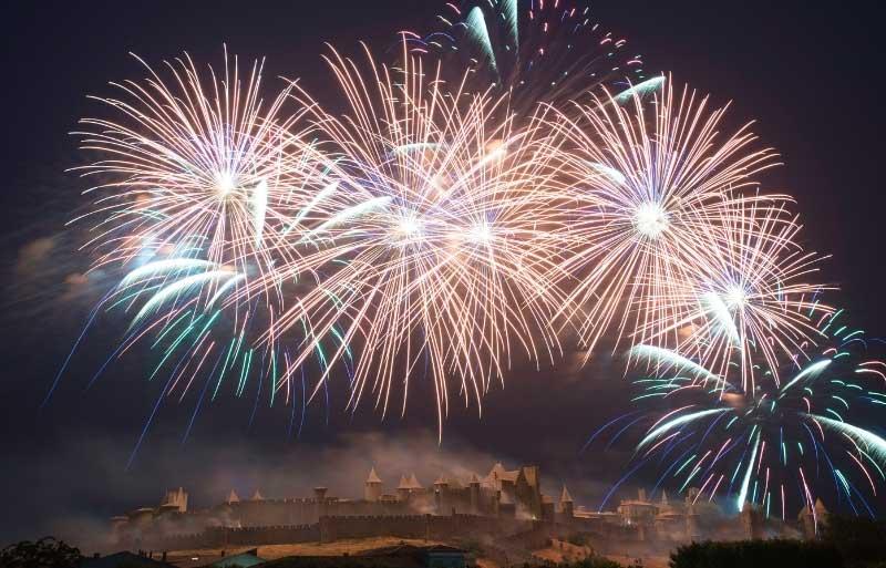 Fireworks over the citadel of Carcassonne to celebrate Bastille Day