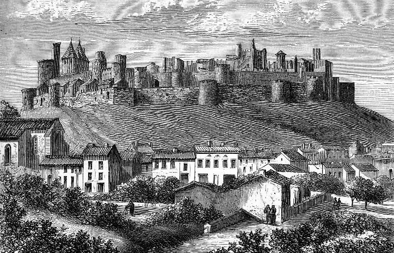 Old black and white etching of Carcassonne