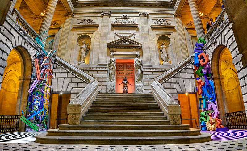 Wide stone staircase at the Grand Theatre of Bordeaux