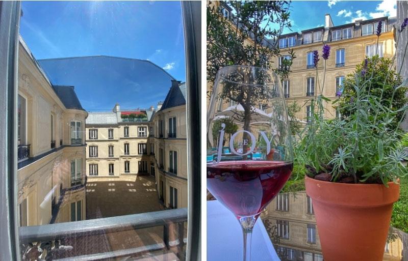 an 18m high mirrored wall in a courtyard at Hotel Fouquet's Paris