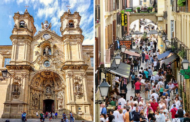 Facade or an ornate church in San Sebastien against a blue sky