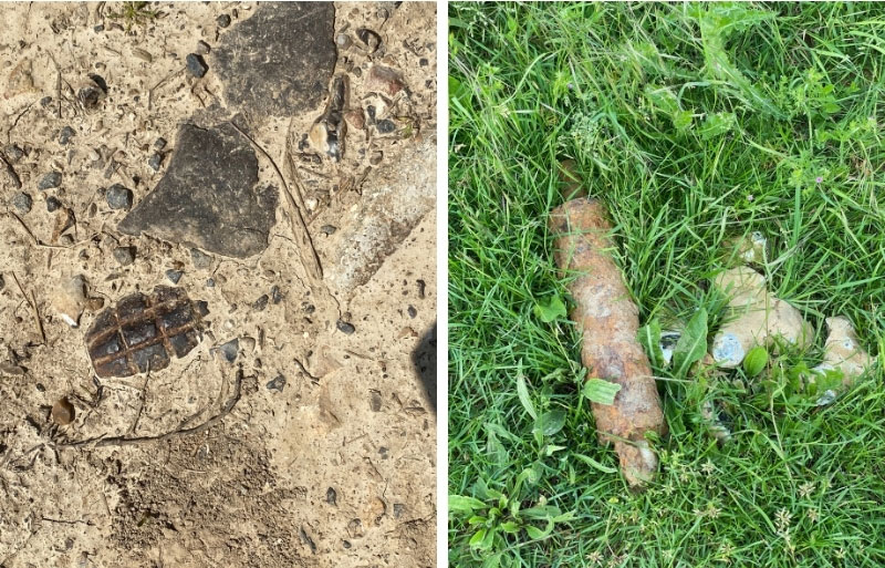 Hand grenades and shells in the dirt at Puiseaux, Somme