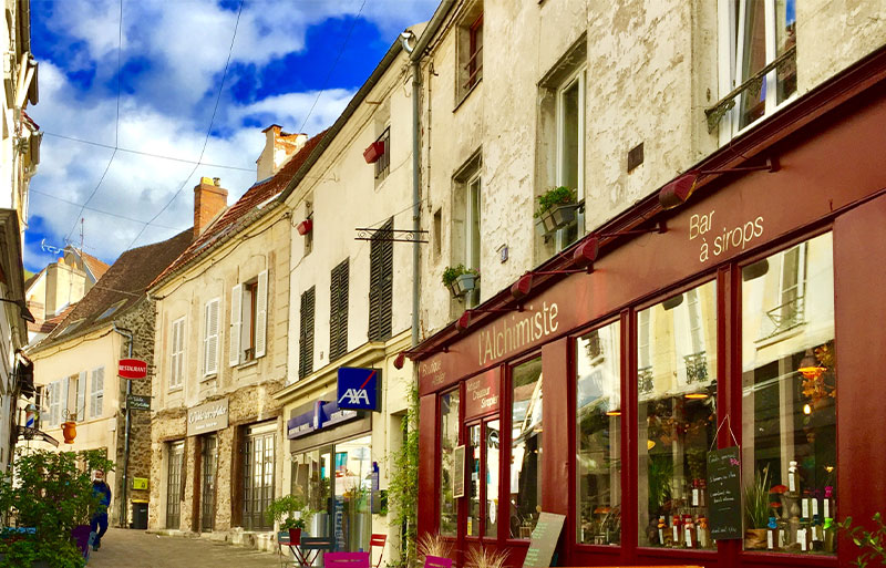 Ancient stone shops and houses in the village of Chevreuse