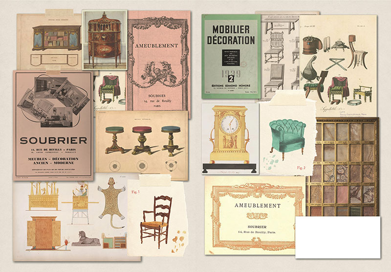 Illustrated pages of a book showing scenes from a Paris shop