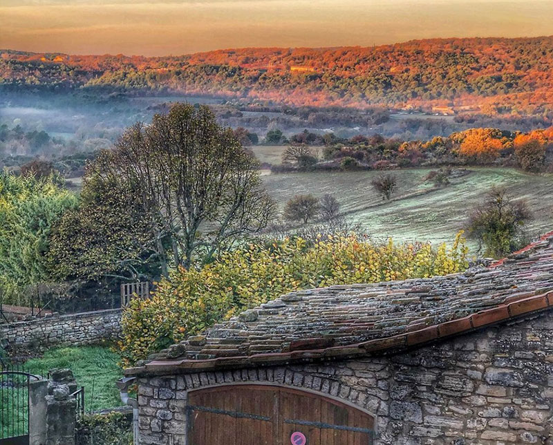 View over the hills of Provence on a frosty day