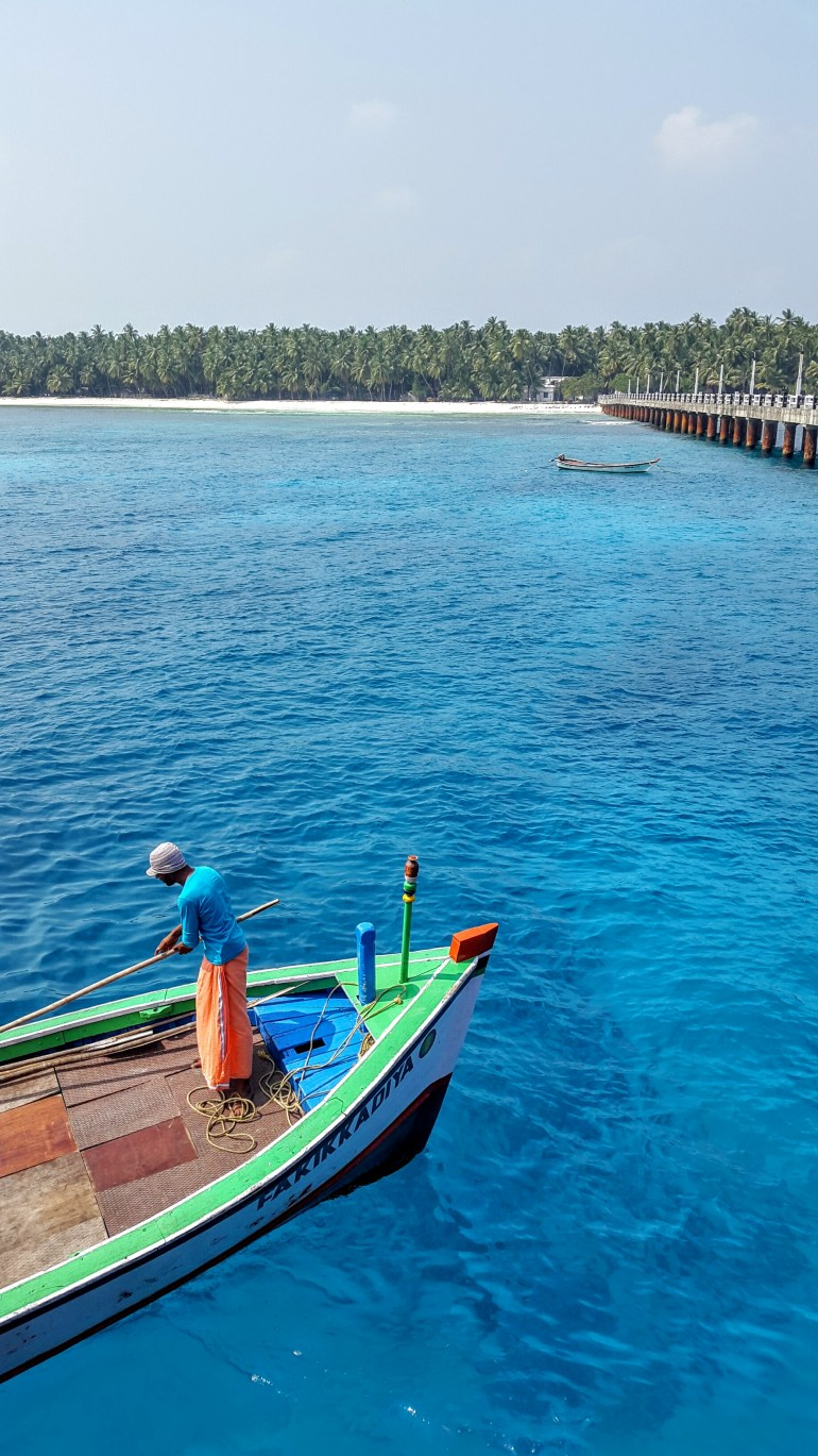 The almost artificially blue waters at Agatti pier, Lakshadweep, India