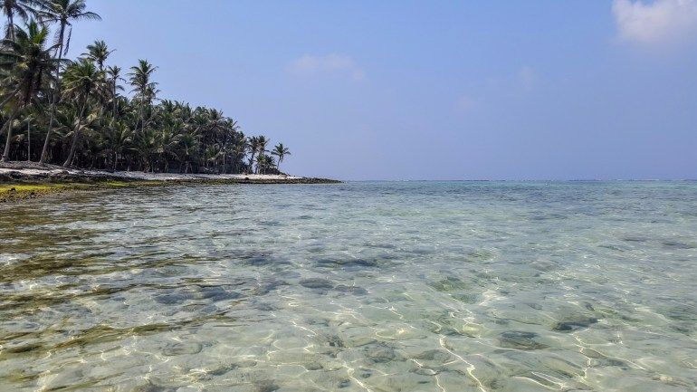 Beach on 'chicken neck', Kavaratti island, Lakshadweep, India