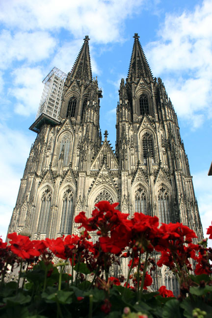 Cologne cathedral from behind flowerbed - A road trip through Germany, and other ways to pass the time (Part 1): Wuppertal and Cologne
