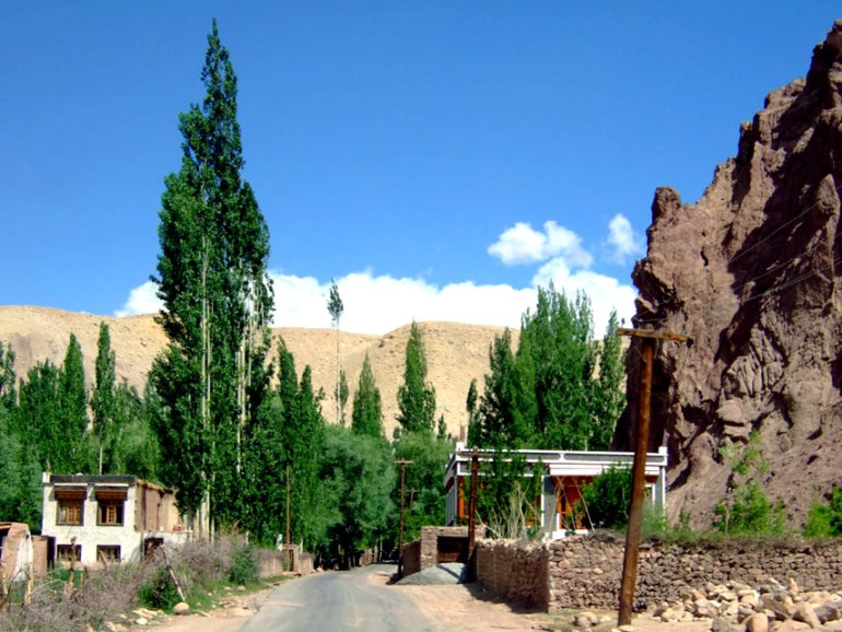 Splashes of green provide some relief from the browns of the countryside in Ladakh, India - an escape from the summer heat