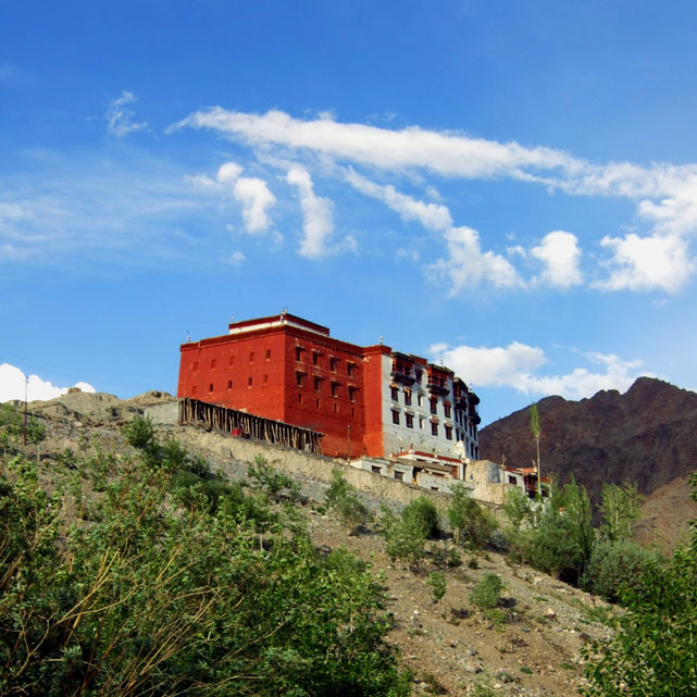 An inviting-looking hilltop monastery on the Leh-Srinigar highway in Ladakh, India - an escape from the summer heat
