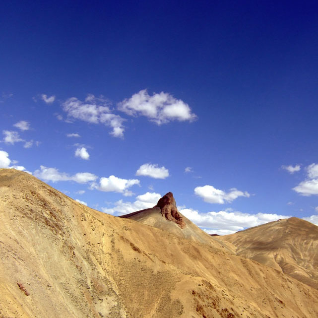 Elephant shaped rock on top of a mountain in Ladakh, India - an escape from the summer heat