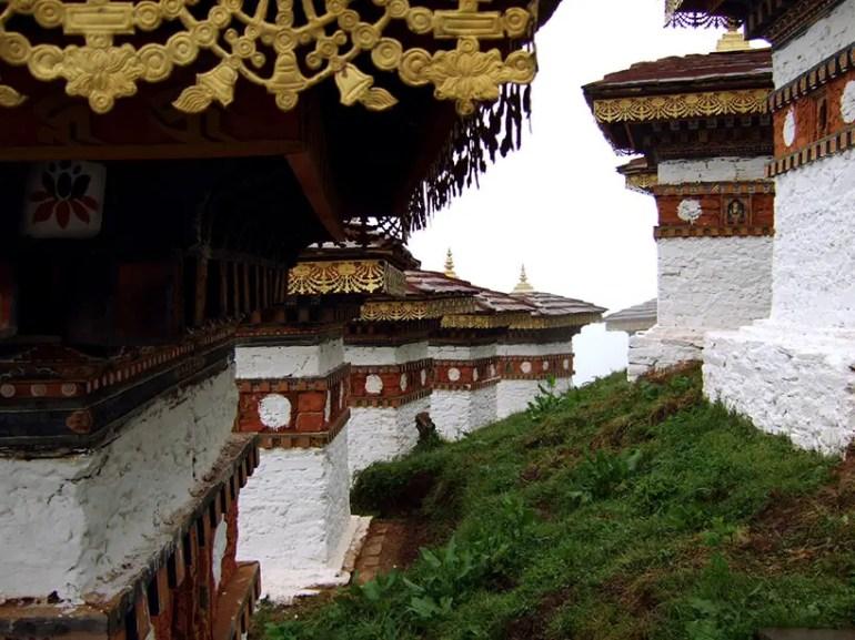 The dochula chorten on the way to Punakha, Bhutan - an escape from the summer heat