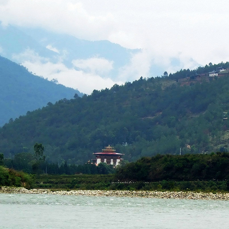 Bhutan - Punakha from across the river