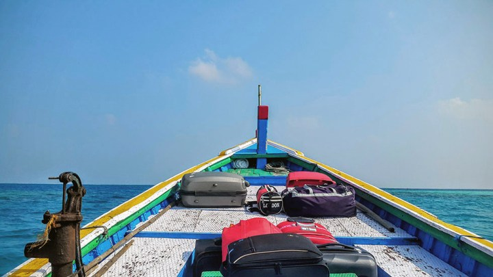 Shuttle boat from Agatti ferry to Bangaram island, Lakshadweep, India