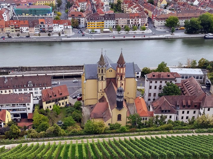 View down the side of the Marienberg castle in Wuerzburg, Germany - travel photos