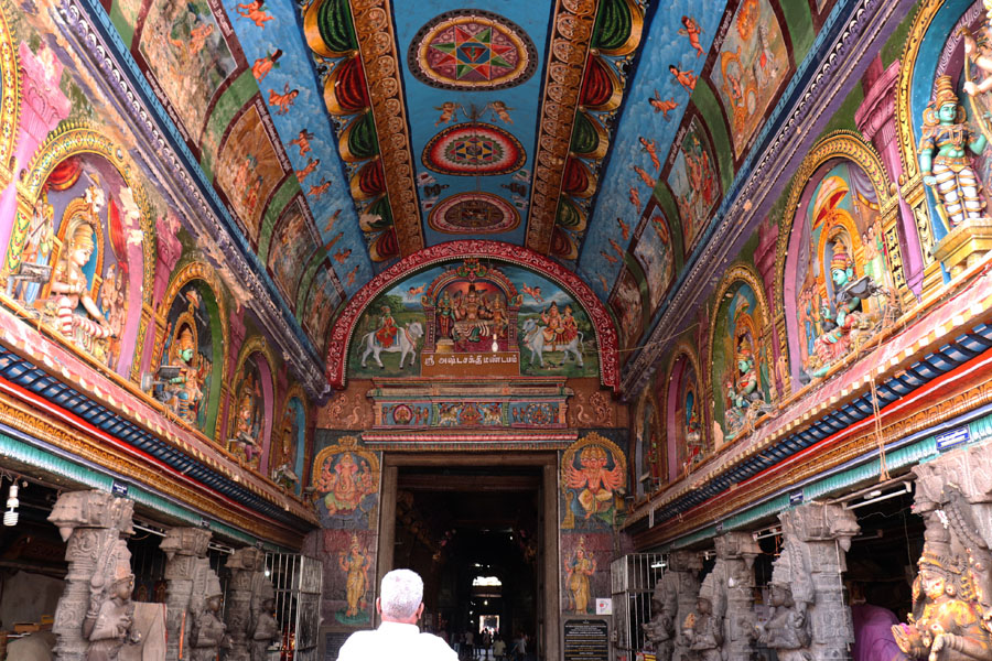 Worshipper at Ashta Shakti Mandapa or Hall of Eight Goddesses in the Meenakshi temple in Madurai, Tamil Nadu, India - Temples of Madurai and Thanjavur