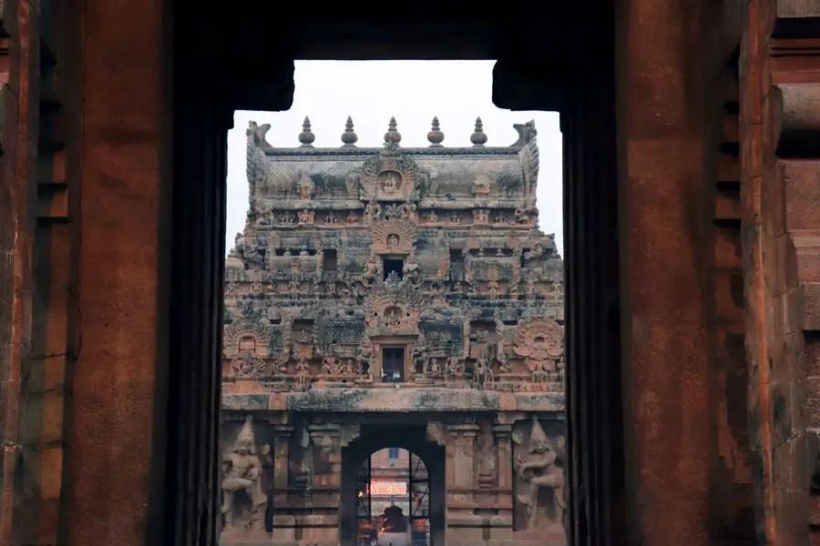 Thanjavur - View of innder gopuram - Temples of Madurai and Thanjavur