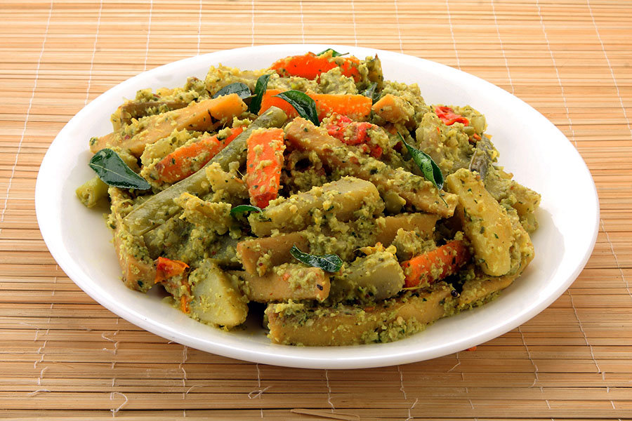 Avial - mixed vegetable curry with coconut - Kerala - vegetarian dishes from India