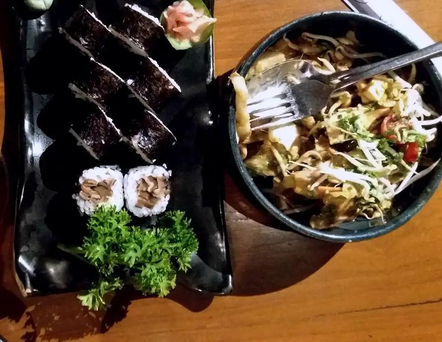 Good restaurants for veg food - Haiku mushroom maki and gado gado - vegetarian food in Hyderabad