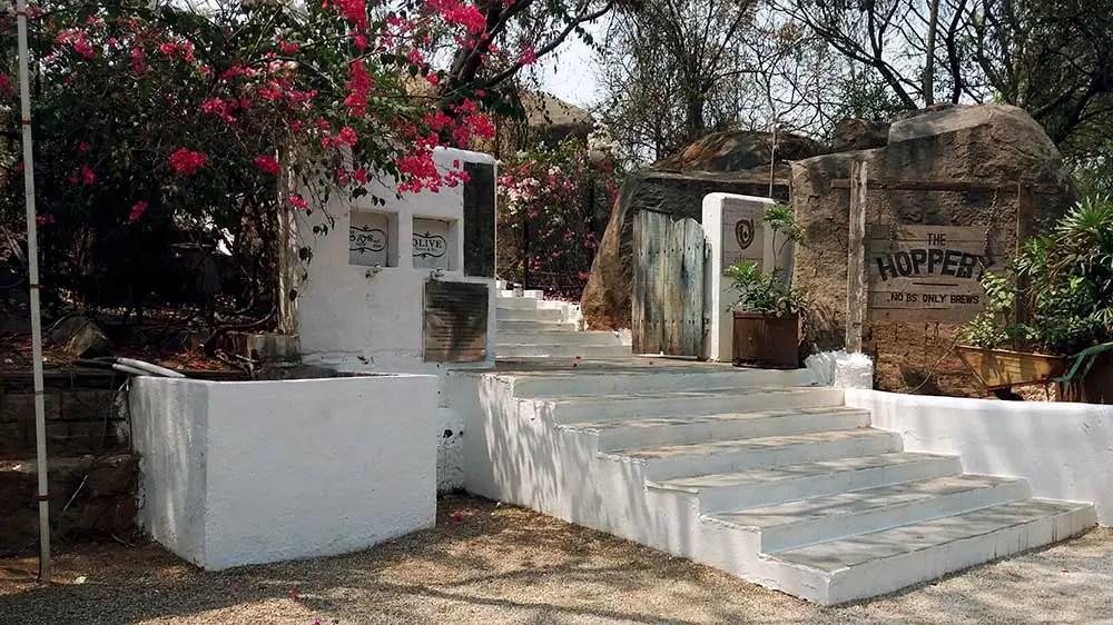 entrance to olive bistro, jubilee hills, hyderabad