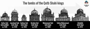 infographic of the qutb shahi tombs and when they were built