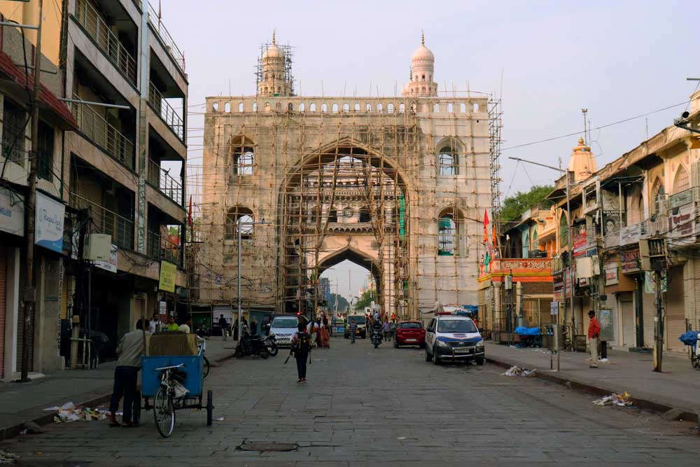 The scaffolded southern arch and the Charminar beyond seen from the start of the pedestrian zone