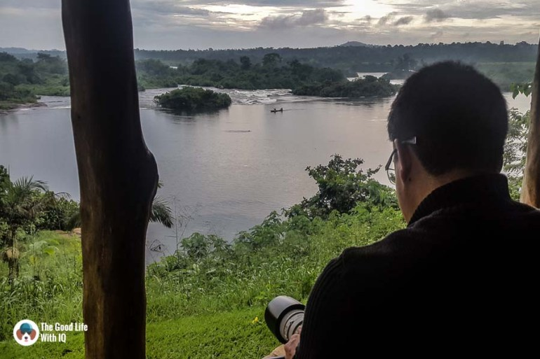 View of river rapids from The Haven, Jinja, Uganda